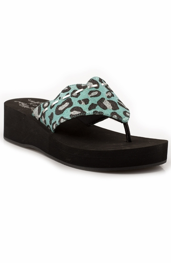 Roper Girls Leopard Glitter Wedge - Blue