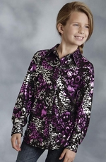 Roper Girls Long Sleeve Leopard Print Snap Western Shirt - Black/Purple
