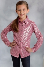 Roper Girls Long Sleeve Metallic Leopard Snap Western Shirt - Pink