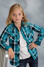 Roper Girls Long Sleeve Plaid Snap Western Shirt - Blue