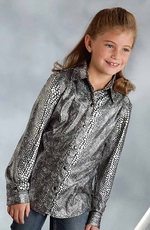 Roper Girls Long Sleeve Snap Show Western Shirt - Silver