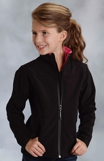 Roper Girls Rangewear Fleece Lined Softshell Jacket - Black (Closeout)