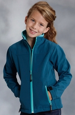 Roper Girls Rangewear Fleece Lined Softshell Jacket - Teal (Closeout)