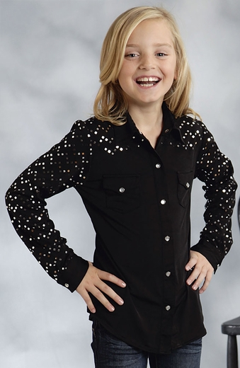 Roper Girls Sequin Yoke and Sleeve Snap Western Shirt - Black