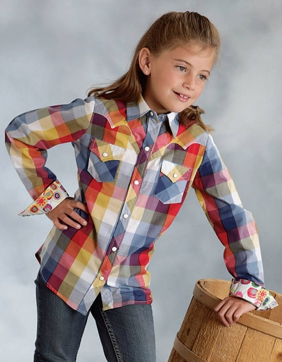 Roper Girls Retro Long Sleeve Plaid Snap Western Shirt - Blue