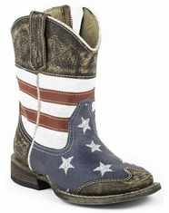 Roper Infant American Flag Square Boots - Brown