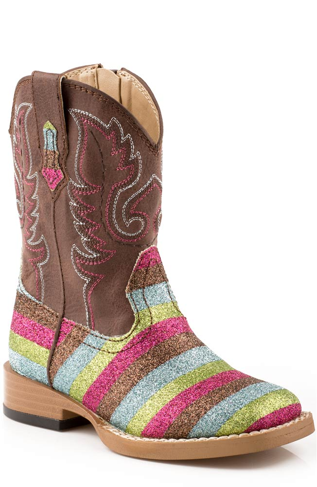 Infant Girl's Square Glitter Cowboy Boots - Brown (Sizes 5-8)