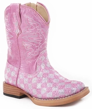 Roper Kid's Bling Checkerboard Square Toe Cowboy Boots - Pink