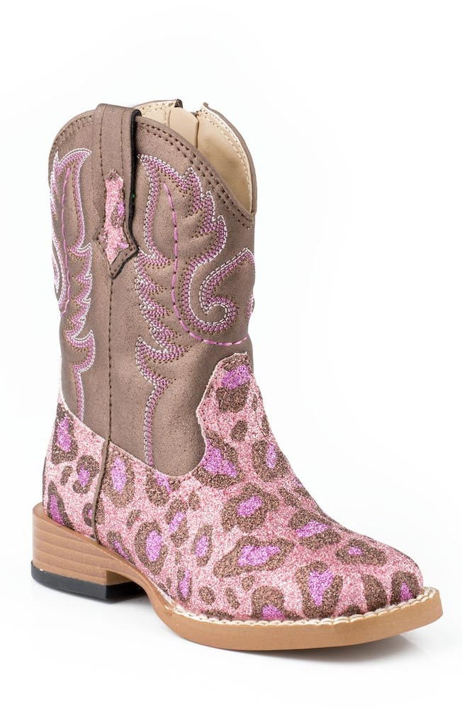 Roper Kids Bling Square Toe Leopard Cowboy Boots (Size 2-8) - Pink