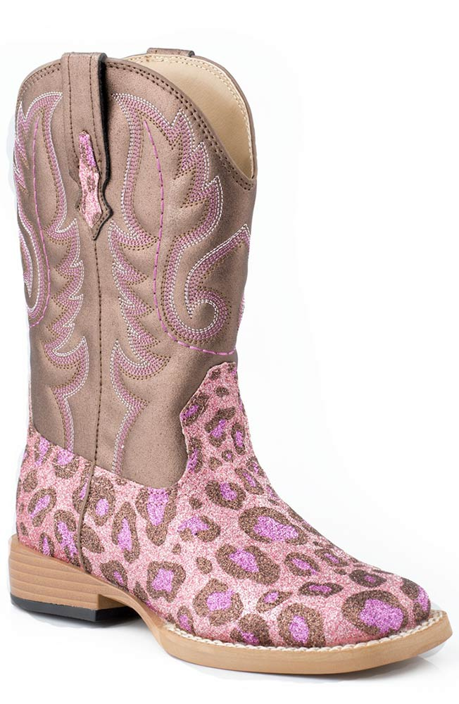 Roper Kids Bling Square Toe Leopard Cowboy Boots (Size 9-3) - Pink