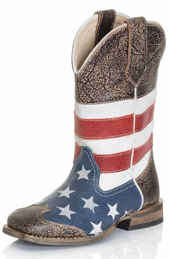 Roper Kids Square Toe American Flag Cowboy Boots - Brown