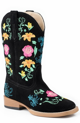 Roper Kids Square Toe Floral Embroidery Cowboy Boots (Size 9-3) - Black