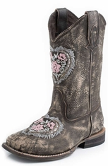 Roper Kids Square Toe Floral Embroidery Cowboy Boots - Brown (Closeout)