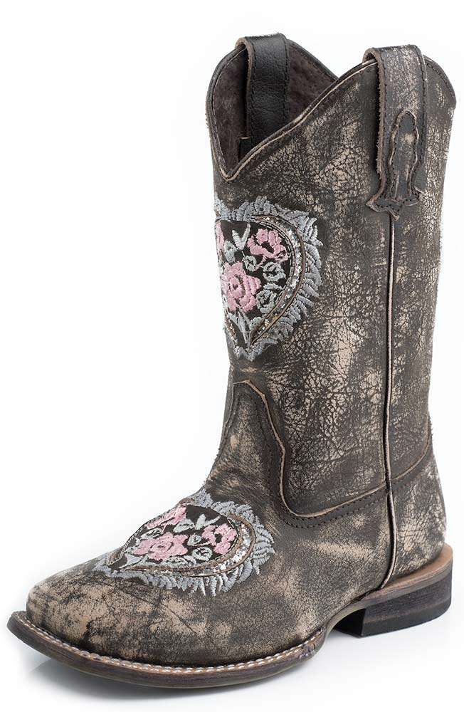 Roper Kids Square Toe Floral Embroidery Cowboy Boots - Brown