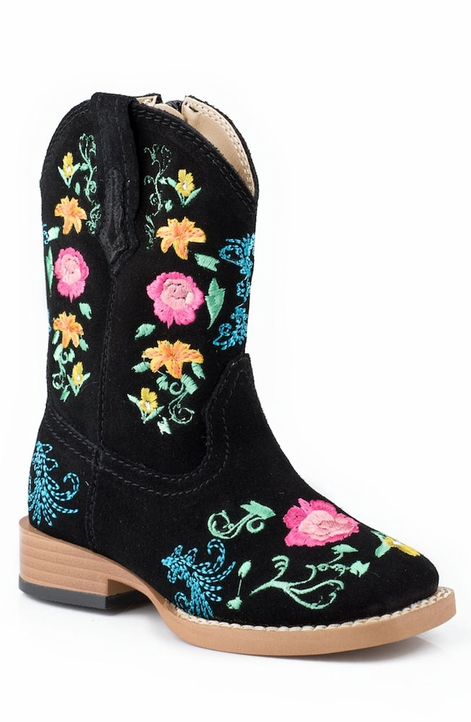 Roper Kids Square Toe Floral Embroidery Cowboy Boots (Size 2-8) - Black (Closeout)