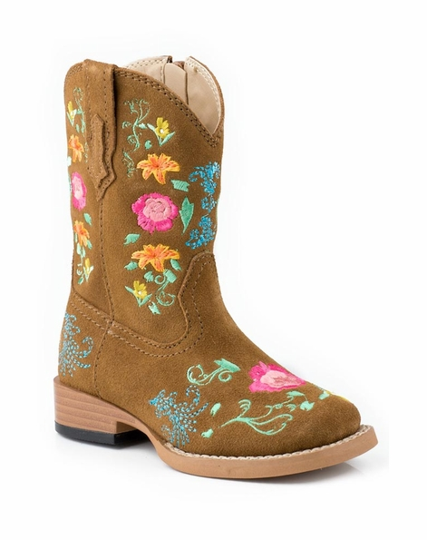 Roper Kids Square Toe Floral Embroidery Cowboy Boots (Size 2-8) - Brown