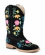 Roper Kids Square Toe Floral Embroidery Cowboy Boots (Size 9-3) - Black (Closeout)