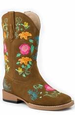 Roper Kids Square Toe Floral Embroidery Cowboy Boots (Size 9-3) - Brown