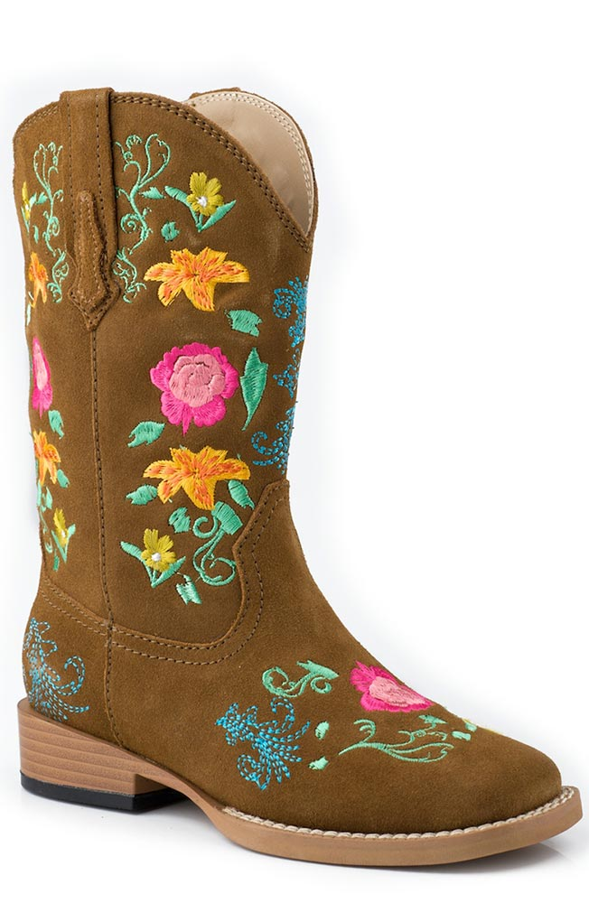 Roper Kids Square Toe Floral Embroidery Cowboy Boots (Size 9-3) - Brown (Closeout)