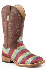 Roper Kids Square Toe Glitter Cowboy Boots - Brown