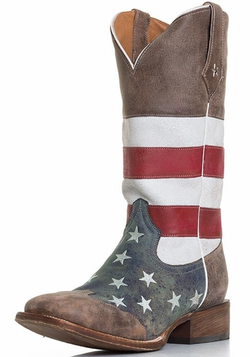 Roper Men's American Flag Square Toe Cowboy Boots - Brown/Red White and Blue (Closeout)