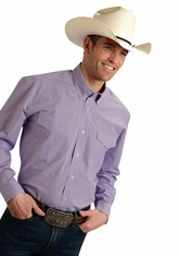 Roper Men's Long Sleeve Check Button Down Shirt - Purple (Closeout)