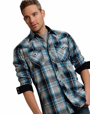 Roper Men's Long Sleeve Marble Wash Plaid Snap Shirt - Blue (Closeout)