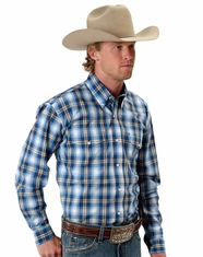 Roper Men's Long Sleeve Plaid Button Down Shirt - Blue