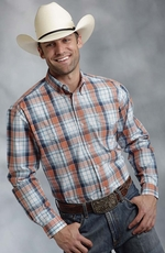 Roper Men's Long Sleeve Plaid Button Down Shirt - Orange (Closeout)