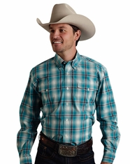 Roper Men's Long Sleeve Plaid Button Down Shirt - Turquoise (Closeout)