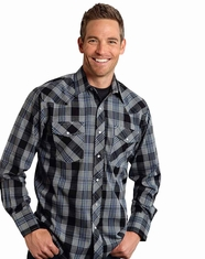 Roper Men's Long Sleeve Plaid Snap Shirt - Blue (Closeout)