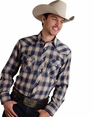 Roper Men's Long Sleeve Plaid Snap Shirt - Blue