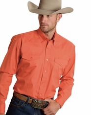 Roper Men's Long Sleeve Solid Button Down Shirt - Coral