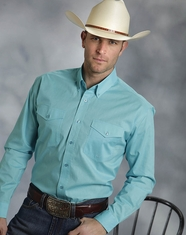 Roper Men's Long Sleeve Solid Button Down Shirt - Turquoise (Closeout)
