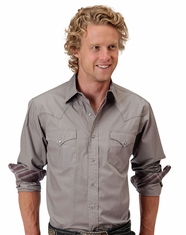 Roper Men's Long Sleeve Solid Snap Shirt - Grey