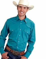 Roper Men's Long Sleeve Solid Snap Shirt - Jade