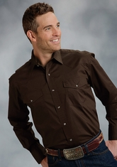 Roper Men's Long Sleeve Solid Western Snap Shirt - Brown