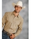 Roper Men's Long Sleeve Solid Western Snap Shirt - Khaki