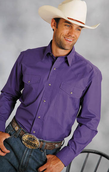 Roper Men's Long Sleeve Solid Western Snap Shirt - Purple
