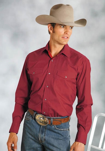 Roper Men's Long Sleeve Solid Western Snap Shirt - Red