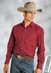 Roper Men's Long Sleeve Solid Western Snap Shirt - Red (Closeout)