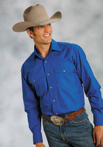 Roper Men's Long Sleeve Solid Western Snap Shirt (Royal)