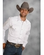 Roper Men's Long Sleeve Solid Western Snap Shirt - White
