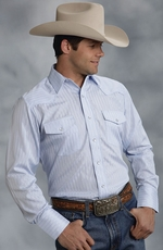 Roper Men's Long Sleeve Stripe Snap Shirt - Blue