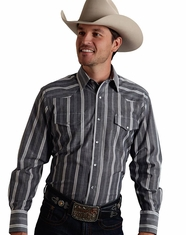 Roper Men's Long Sleeve Stripe Snap Shirt - Grey (Closeout)
