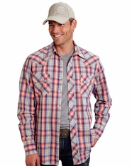 Roper Men's Long Sleeve Plaid Snap Shirt - Orange
