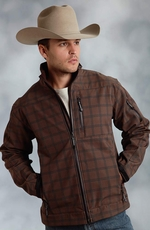 Roper Men's Rangewear Fleece Lined Plaid Softshell Jacket - Brown (Closeout)