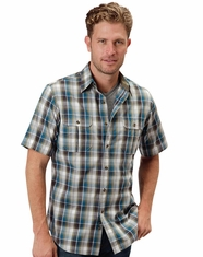 Roper Men's Short Sleeve Plaid Button Down Shirt - Blue