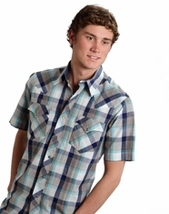 Roper Men's Short Sleeve Plaid Snap Shirt - Blue (Closeout)