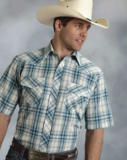 Roper Men's Short Sleeve Plaid Snap Shirt - Blue